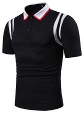 Turndown Collar Contrast Color Arms Stripes Polo Shirt