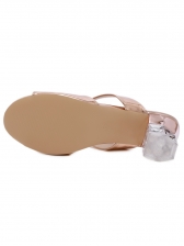 Stylish 2 Straps Pu Clear Heel Slippers