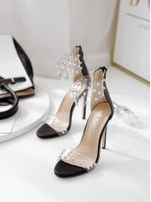 Classic Rivet PVC Black Heel Sandals For Women
