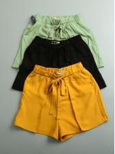 Casual Style Drawstring Solid Short Pants