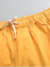 Euro Drawstring Solid Short Pants For Men
