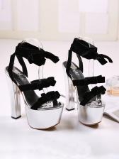 Lace Up Platform Super High Heel Silvery Sandals