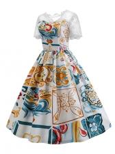 Color Block Lace Patchwork Large Hem Dress