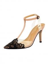 Stylish Lace Patchwork PVC T-Strap Lady Heels