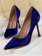 Simple Design Satin Pointed Slip On Heels