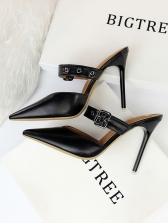 Vintage Style Buckle Thin Heel Mules Slippers