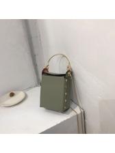 Metal Handle Rivets Decor Crossbody Bag For Women