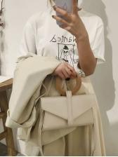 Fashion Round Handle Solid Handbag