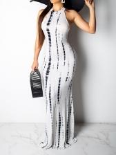 Chic Halter Printed Beach Vacation Maxi Dress