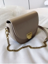 Fashion Solid Metal Lock Chain Saddle Bag