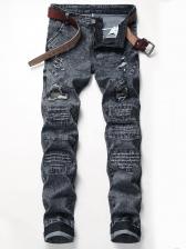 Chic Patchwork Hollow out Denim Pants For Men