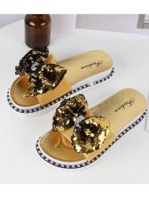 Chic Sequined Open Toe Slide Slippers For Women