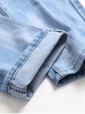 Vintage Solid Straight Destroyed Denim Jeans For Men