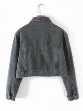Spring Spread Neck Button Cropped Gray Denim Jackets