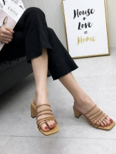 Summer Square Toe Chunky Heel Strappy Slippers