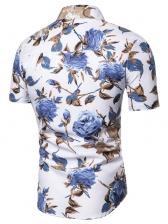 Summer Turndown Collar Flower Printed Shirt