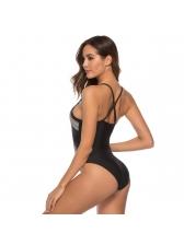 Sexy Print Backless Black One Piece Swimwear