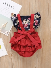 Lace Flower Ruffles Baby Romper With Headband