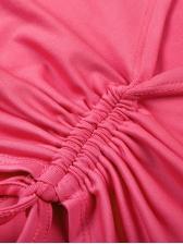 Deep V Neck Drawstring Crop Long Sleeve Tee