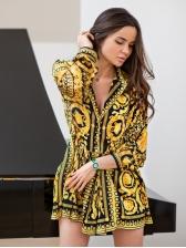 European Style Turndown Collar Printed OL Long Sleeve Dress
