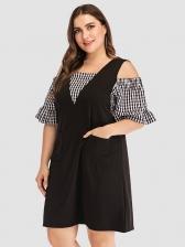 Summer Plaid Cold Shoulder Black Dresses