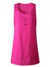 Minimalist Pockets Solid Sleeveless Mini Dresses