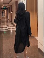 Solid Color Turndown Collar Long Coat
