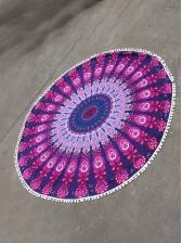 Tassel Ball Decor Printed Round Beach Blanket
