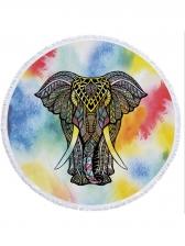 Elephant Printed Polyester Tassel Round Beach Scarves