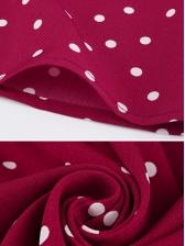 Fashionable Polka Dots Binding Bow Red Midi Dresses