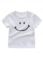 Smiling Face Cotton Unisex Kid Short Sleeve Tee