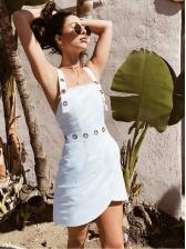 Stylish Irregular Strap White Dresses