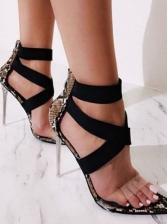 Euro Snake Print Bandage PVC Pointed Sandals