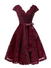 V Neck Lace Binding Bow Large Hem Dress