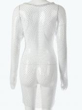 Sexy Crew Neck Gauze Long Sleeve Dress