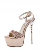 Euro Ankle Strap Platform Glitter Stiletto Heels