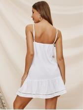 Sexy V Neck Backless Spaghetti Strap White Sleeveless Dress