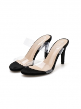 Simple Design 2 Strap PVC Heeled Slippers