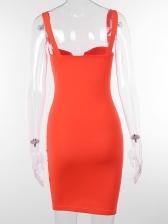 Low-cut Solid Sleeveless Bodycon Dress