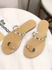 Pineapple Toe Loop Beach Tan Slippers