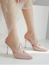 Simple Design PVC Diamond Pointed Heeled Slippers