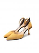 Korean Design Color Block Ankle Strap Pointed Heels