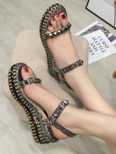 Round Toe Geometric Rivets Sandals