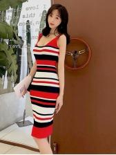 Deep U Neck Slim Striped Knitting Dress