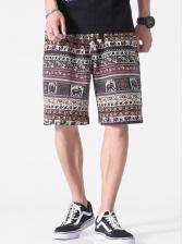Ethnic Printing Wide Leg Mens Half Shorts