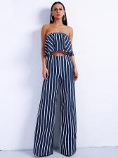 Striped Strapless 2 Piece Straight Pants Set
