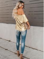 Summer Crew Neck Solid Sequin Womens T-Shirt