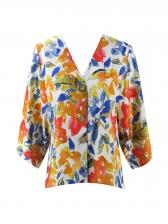 V Neck Bat Sleeve Floral Shirt For Women