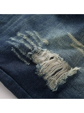Euro Pockets Zipper Destroyed Blue Jeans