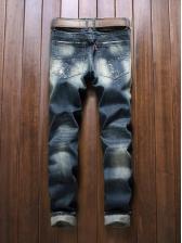 Causal Badge Stitching Blue Denim Jeans